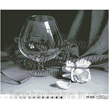 Бисерная заготовка для вышивки схемы-картины Бокал и роза