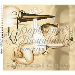 Бисерная заготовка для вышивки схемы-картины Аист прилетел (сепия)