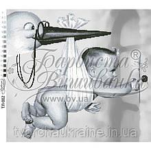 Бисерная заготовка для вышивки схемы-картины Аист прилетел (серая)