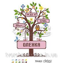 Бисерная заготовка для вышивки схемы-картины Метрика девочки «Деревце»