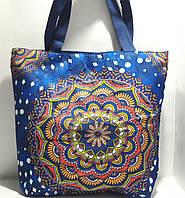 Пляжная текстильная летняя сумка для пляжа и прогулок Цветочный орнамент