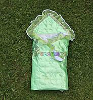 Конверт-одеяло для новорожденных на выписку и в коляску атласный легкий салатовый, фото 1