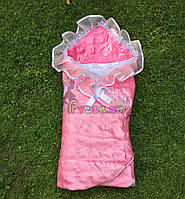 Конверт-одеяло для новорожденных на выписку и в коляску атласный легкий розовый, фото 1