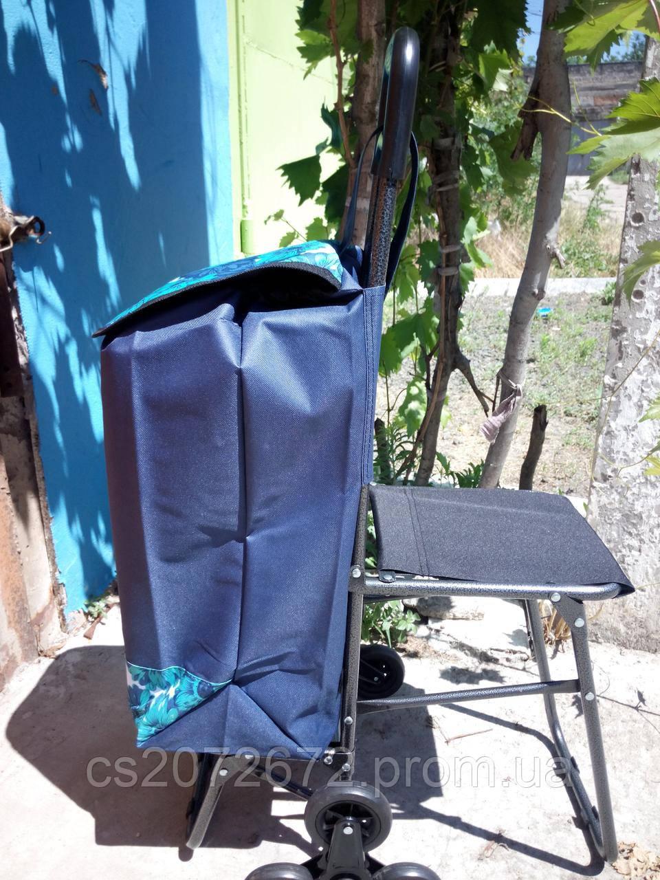 Хозяйственная сумка - тележка на 6 колесиках со стульчиком 50 кг.