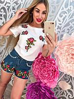 Женский костюм шорты джинс с нашивками и футболка