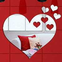 Декоративная наклейка - акриловое зеркало «Сердце», размер 600х520, фото 1