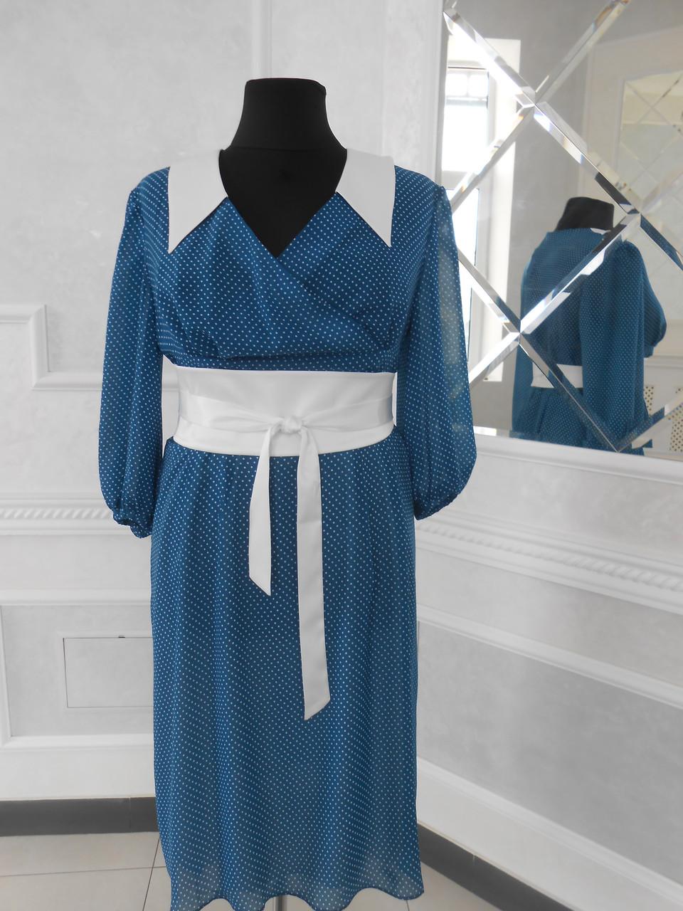 5d476095ca2 Платье синее в белый горох с белым поясом и белым воротником большого  размера -