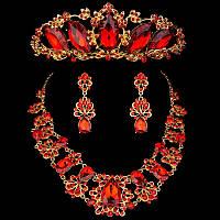 Комплект корона, диадема, тиара с  колье и серьгами в золоте с красными камнями , высота 5 см.