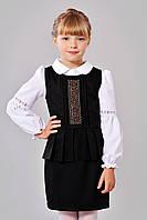 Черный школьный детский сарафан для девочки