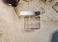 Банка косметическая с винтовой БЕЛОЙ крышкой , прочный пластик Объем 200 мл
