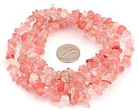 Шикарные длинные бусы из розового кварца