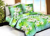 """Комплект постельного белья Евро двуспальный, п/э 3D """"Салатово-цветочная нежность"""""""