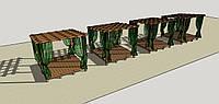 Топчан-пергола пляжная деревянная