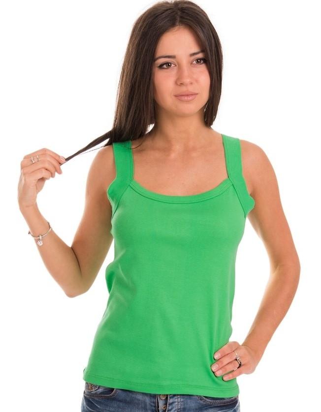 Майка женская зеленая однотонная без рисунка (безшовна) трикотажная хб хлопковая летняя