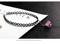 Чокер кожаный перфорированный с сиреневым цветком, фото 1