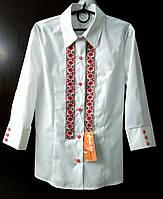 Блузка подростковая, с народной лентой вышивкой. Рукав 3/4.  Размеры: 38-44..
