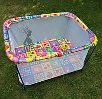 """Манеж детский с мелкой сеткой Kinderbox """"Совы в квадратах"""", фото 1"""