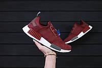 Крутые женские кроссовки Adidas NMD  Maroon / адидас Реплика (1:1 к оригиналу)