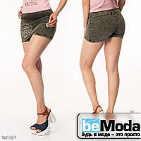 Модные короткий шорты с текстиля с принтом Little Secret цвета хаки
