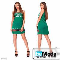 Молодежное кроткое платье с вставками Little Secret зеленое