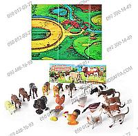 HU домашние животные M 0256 U/R, в наборе 20 шт фигурок животных, игровое поле, в кульке 32*23*5 см
