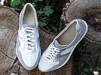 Женские серые кроссовки из натуральной замши, кожи с вставками сеточка