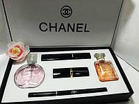 Подарочный набор от CHANEL ( тушь+карандаш+помада+2 парфюма ) белая коробка