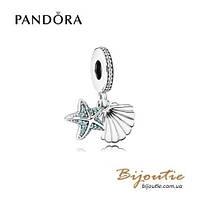Pandora Шарм-подвеска РАКУШКА И МОРСКАЯ ЗВЕЗДА #792076CZF серебро 925 Пандора оригинал