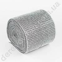 Алмазная лента с имитацией камней, серебро, 12см×9м