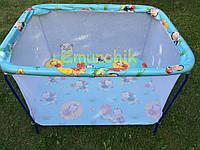 Манеж детский с мелкой сеткой Kinderbox Пчелки голубой