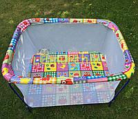 Манеж детский с мелкой сеткой Kinderbox Совы в квадратах