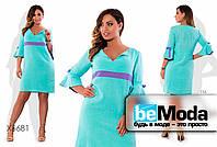 Стильное женское платье из жатого льна с оригинальными рукавами голубое