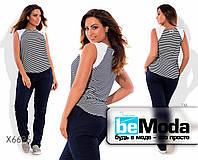 Стильная женская блуза больших размеров из льна и трикотажа в полоску черная