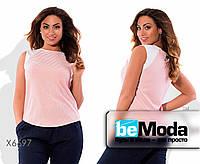 Стильная женская блуза больших размеров из льна и трикотажа в полоску розовая