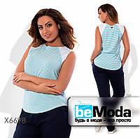 Стильная женская блуза больших размеров из льна и трикотажа в полоску голубая