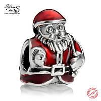 """Серебряная подвеска шарм Пандора """"Санта Клаус"""""""