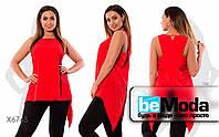 Удобная женская блуза больших размеров с оригинальной спинкой красная