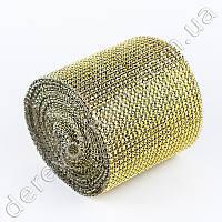 Алмазная лента с имитацией камней, золото, 12см×9м