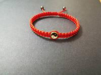 Браслет красная нить от сглаза с амулетом Инь-Янь (золотистый)