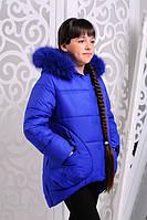 Зимний детский пуховик с капюшоном на молнии для девочки