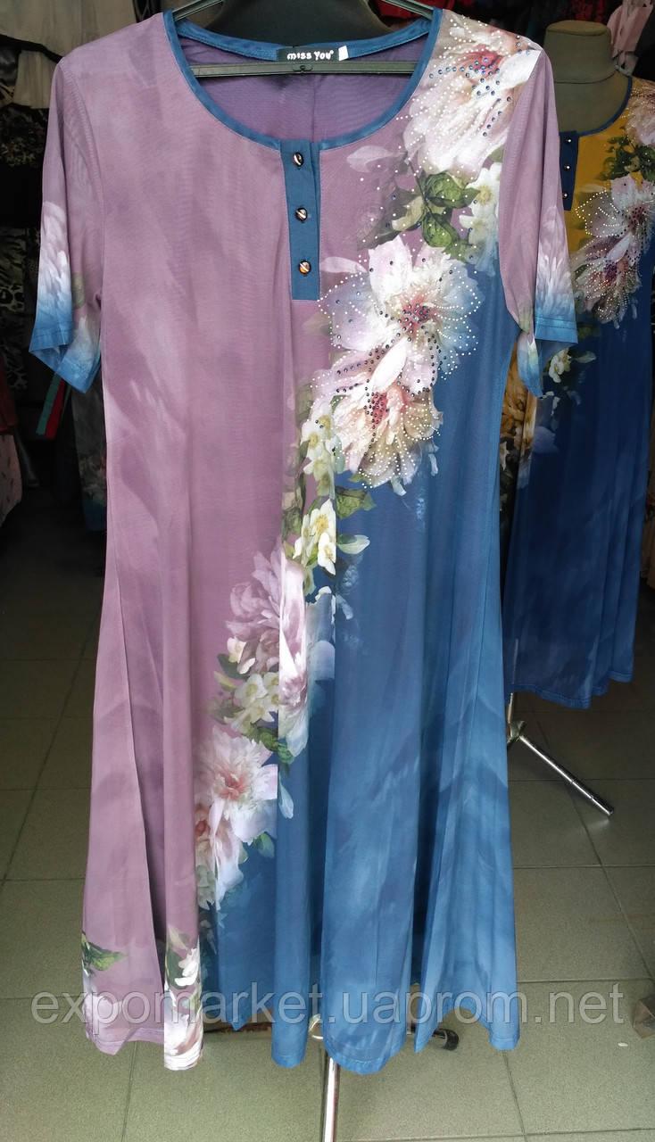 Платье женское летнее длинное цветы большой размер