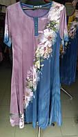 Платье женское летнее длинное цветы большой размер, фото 1