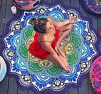 Пляжный коврик Мандала. Голубая с бахромой, диаметр 150 см