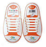 Шнурки силиконовые Good-Bye Tie  белые (6+6)