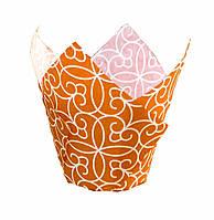 """Форма бумажная для кексов """"Тюльпан"""" оранжевая с рисунком, дно 5 см, 6 шт"""