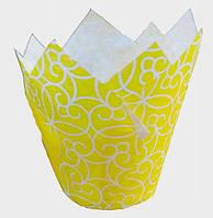 """Форма бумажная для кексов """"Тюльпан"""" желтая с рисунком, дно 5 см, 6 шт"""