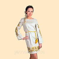 Плетье с длинным рукавом вышиванка с подсолнухами. Лен