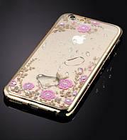 Чехол с цветами и стразами iPhone 7 (4.7) с глянцевым бампером Золотой/Розовые цветы