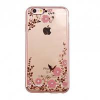 Чехол с цветами и стразами iPhone 6/6s (4.7) с глянцевым бампером Розовый золотой