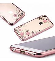 Чехол с цветами и стразами iPhone 6/6s plus 5.5 с глянцевым бампером Розовый золотой/Розовые цветы
